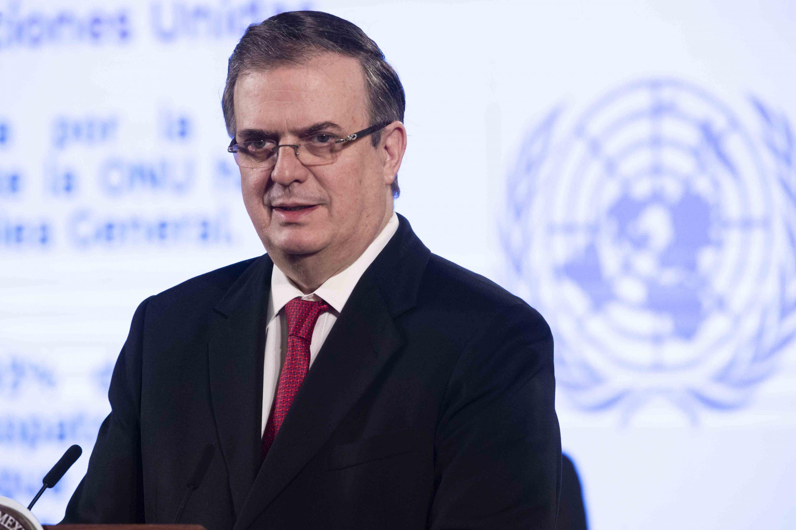 El titular de la Secretaría de Relaciones Exteriores, Marcelo Ebrard en conferencia en la Ciudad de México, México, 21 de abril de 2020.