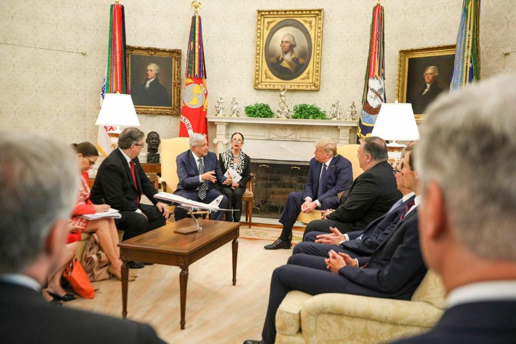 El Presidente de México y Donald Trum se reúnen en la Casa Blanca, el 8 de julio de 2020.